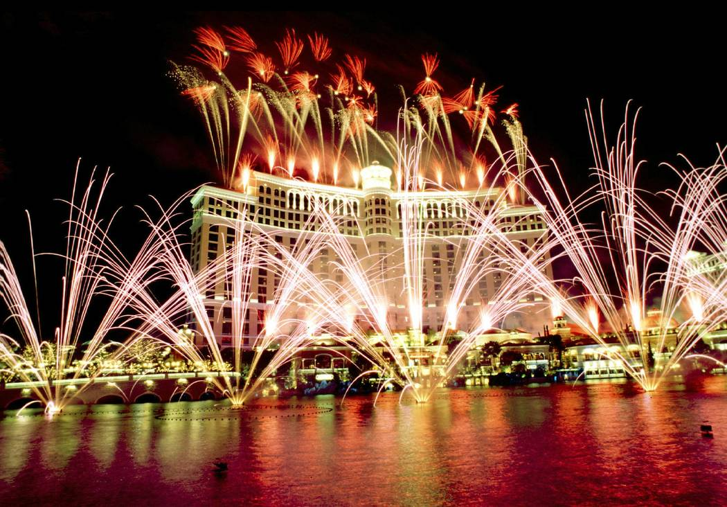 Fireworks light up the sky above and around the Bellagio during the grand opening celebration of the casino on Sunday, Oct. 18, 1998. (Las Vegas News Bureau)