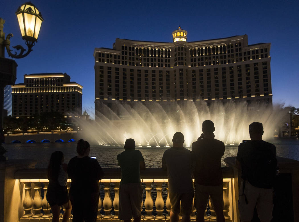 The Fountains of Bellagio show on Tuesday, Oct. 9, 2018, on the Las Vegas Strip. (Benjamin Hager/Las Vegas Review-Journal) @benjaminhphoto