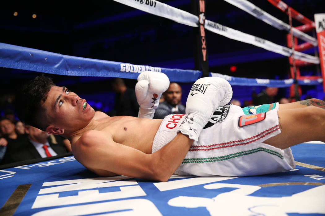 Abraham Rodriguez is knocked out in the second round of the WBO lightweight title bout against Angel Acosta at the Hard Rock hotel-casino in Las Vegas, Saturday, Oct. 13, 2018. Erik Verduzco Las V ...