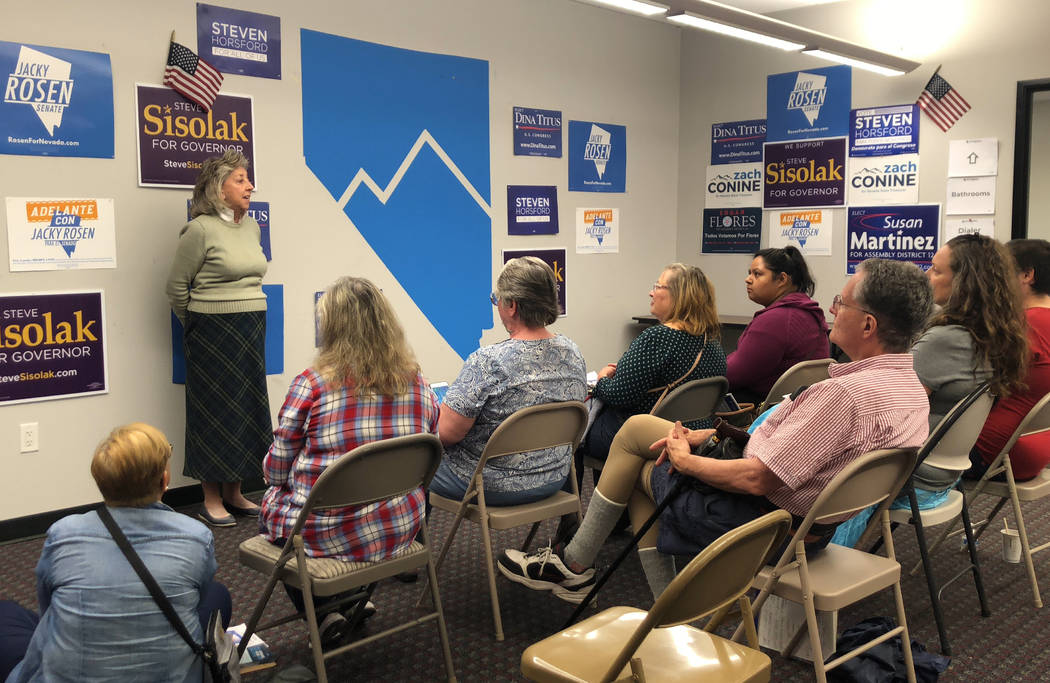 Rep. Dina Titus talks to Nevada Democrat campaign volunteers ahead of early voting at a canvass launch event on Sunday, Oct. 14, 2018. (Rio Lacanlale/Las Vegas Review-Journal)