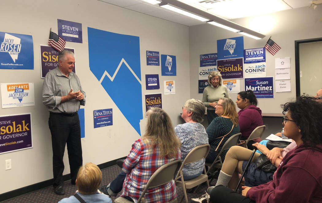 Democratic gubernatorial candidate Steve Sisolak talks to Nevada Democrat campaign volunteers ahead of early voting at a canvass launch event on Sunday, Oct. 14, 2018. (Rio Lacanlale/Las Vegas Rev ...