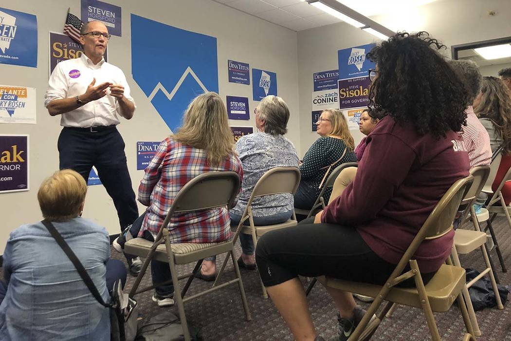 Democratic National Committee Chairman Tom Perez visits Nevada ahead of early voting and talks to volunteers at a canvass launch event on Sunday, Oct. 14, 2018. (Rio Lacanlale/Las Vegas Review-Jou ...