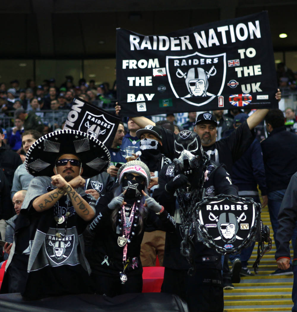 Oakland Raiders fans cheer during the first half of an NFL game against the Seattle Seahawks at Wembley Stadium in London, England, Sunday, Oct. 14, 2018. Heidi Fang Las Vegas Review-Journal @Heid ...