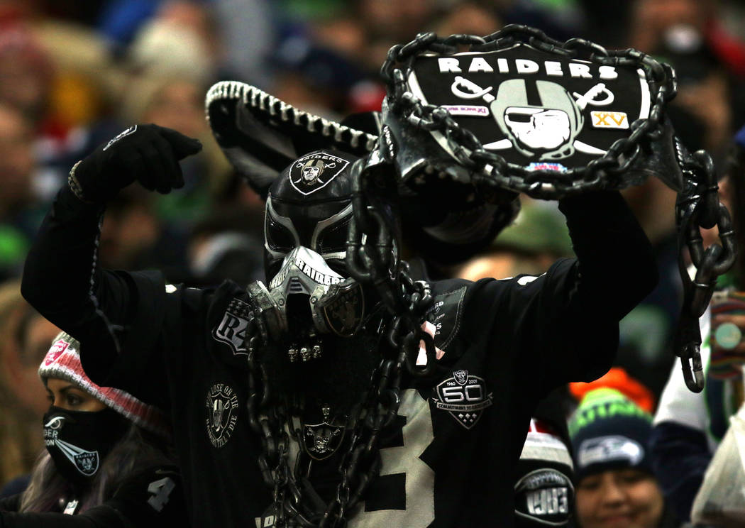 An Oakland Raiders fan during the first half of an NFL game against the Seattle Seahawks at Wembley Stadium in London, England, Sunday, Oct. 14, 2018. Heidi Fang Las Vegas Review-Journal @HeidiFang
