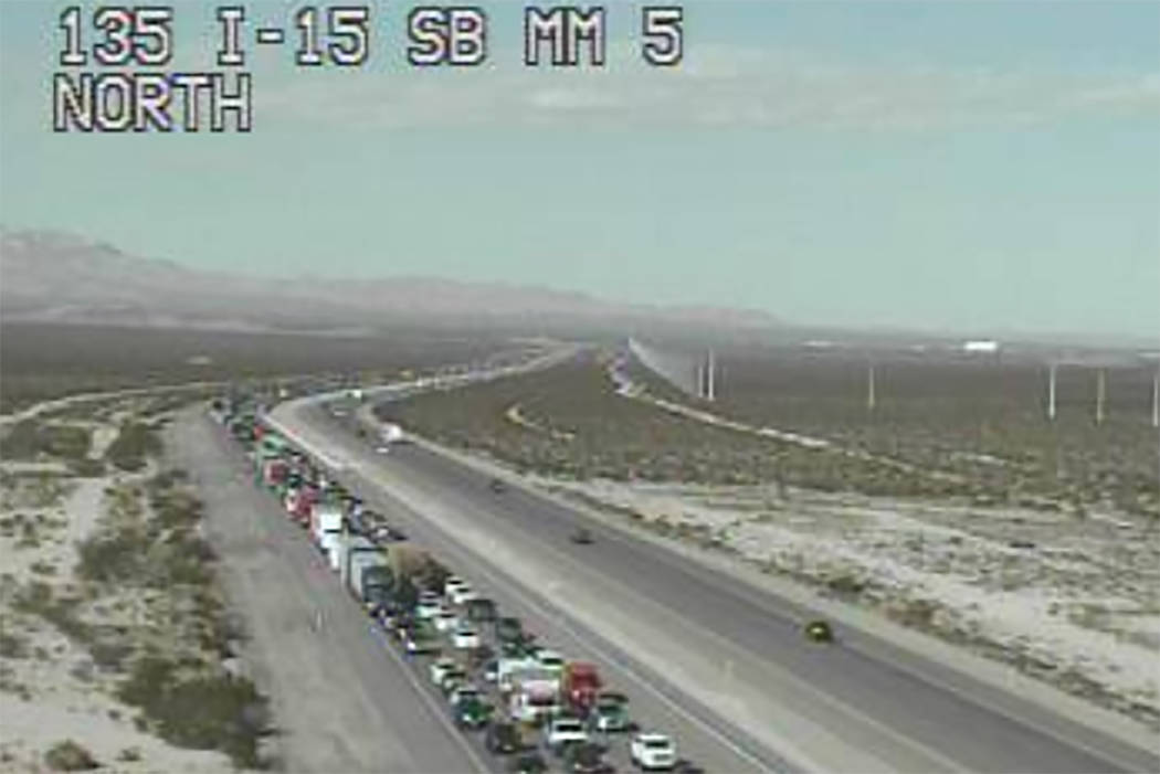The commission reported a traffic backup spanning at least 10 miles on southbound I-15 on Sunday, Oct. 14, 2018. (RTC Traffic Cam)