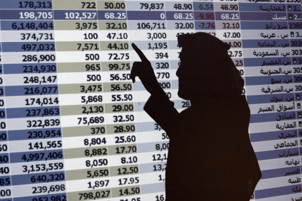 FILE - In this Oct. 7, 2008 file photo, the shadow of a Saudi trader is seen on a stock market monitor in Riyadh, Saudi Arabia. The Saudi stock market sharply fell Sunday after President Donald Tr ...