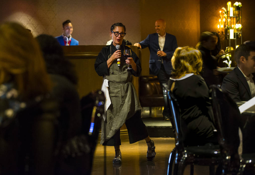 Chef Nancy Silverton addresses guests during the James Beard Foundation's Celebrity Chef tour dinner series at the Velvet Room at Luxor in Las Vegas on Saturday, Oct. 13, 2018. Chase Stevens Las V ...