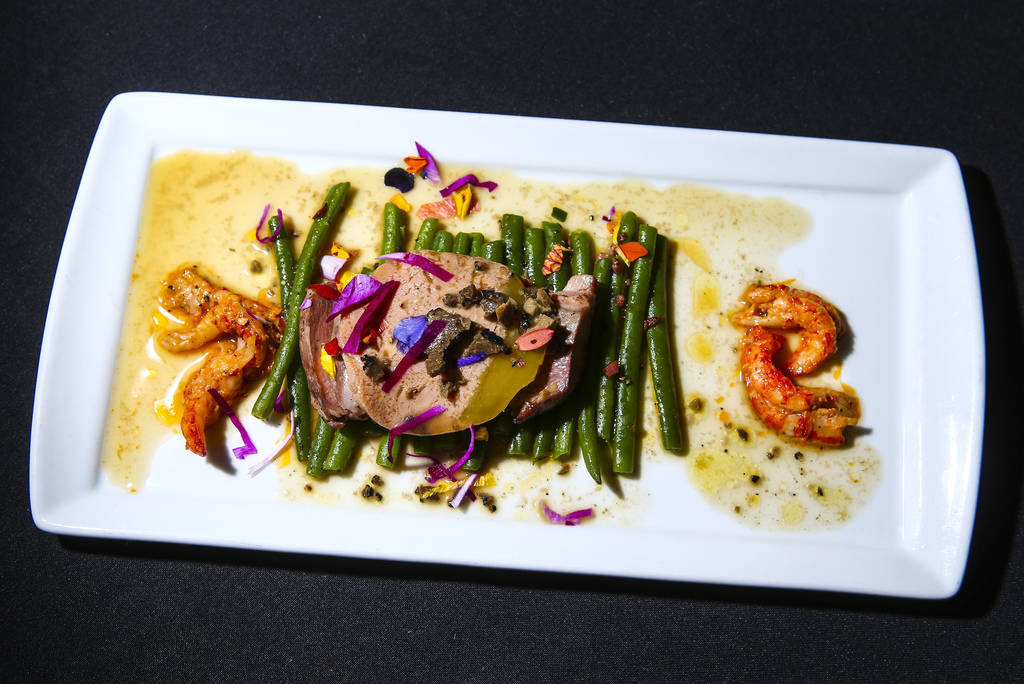 The 1st course dish by Chef Jeremiah Tower during the James Beard Foundation's Celebrity Chef tour dinner series at the Velvet Room at Luxor in Las Vegas on Saturday, Oct. 13, 2018. The dish was a ...