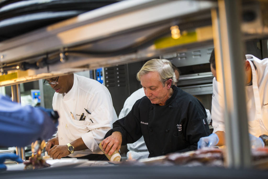 Chef Jimmy Schmidt in the kitchen during the James Beard Foundation's Celebrity Chef tour dinner series at the Velvet Room at Luxor in Las Vegas on Saturday, Oct. 13, 2018. Chase Stevens Las Vegas ...