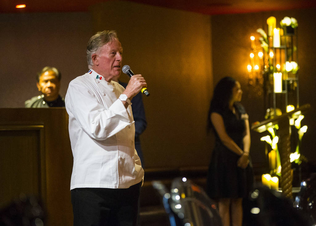 Chef Jeremiah Tower addresses guests during the James Beard Foundation's Celebrity Chef tour dinner series at the Velvet Room at Luxor in Las Vegas on Saturday, Oct. 13, 2018. Chase Stevens Las Ve ...