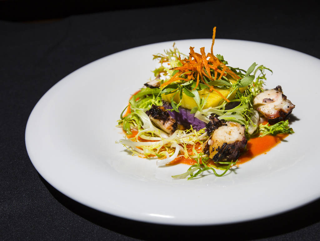The 3rd course dish by Chef Mary Sue Milliken during the James Beard Foundation's Celebrity Chef tour dinner series at the Velvet Room at Luxor in Las Vegas on Saturday, Oct. 13, 2018. The dish fe ...