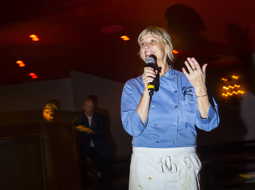 Chef Mary Sue Milliken addresses guests during the James Beard Foundation's Celebrity Chef tour dinner series at the Velvet Room at Luxor in Las Vegas on Saturday, Oct. 13, 2018. Chase Stevens Las ...
