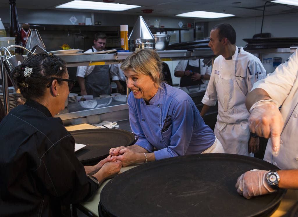Chefs Nancy Silverton, left, and Mary Sue Milliken talk during a short break in the kitchen during the James Beard Foundation's Celebrity Chef tour dinner series at the Velvet Room at Luxor in Las ...