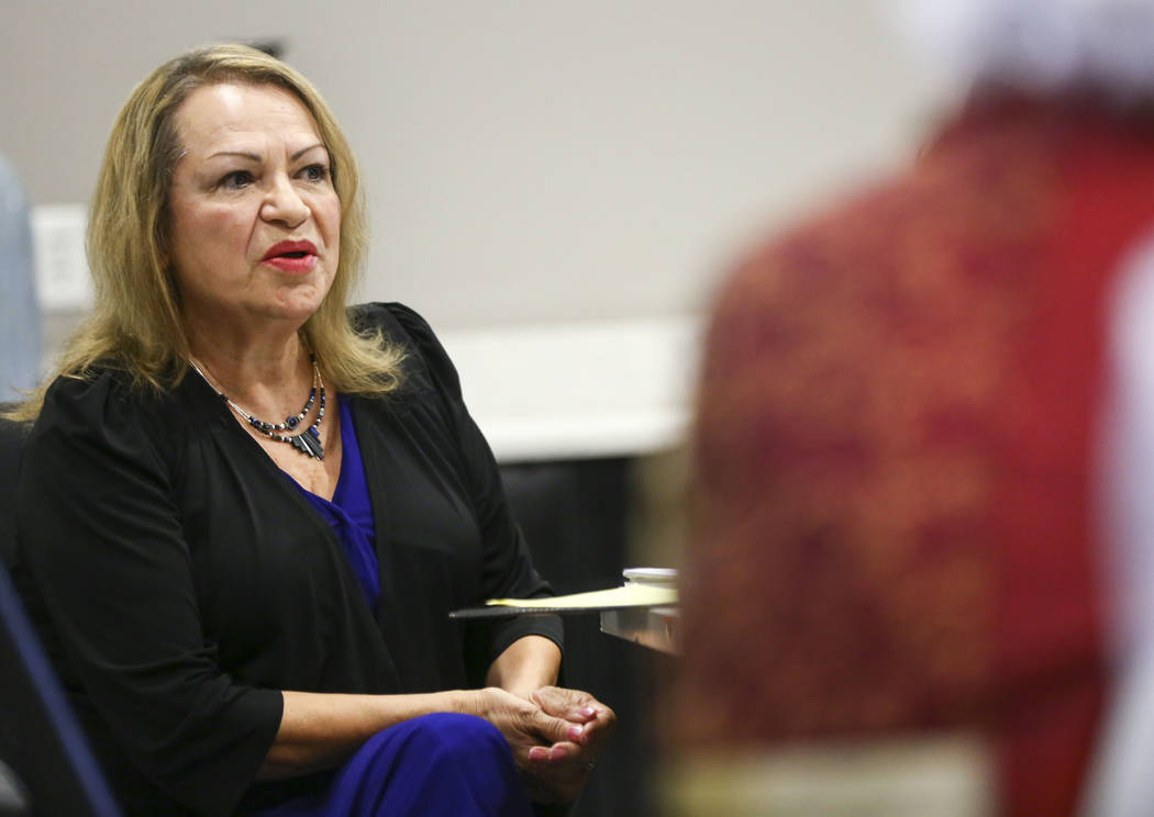 Linda Cavazos, incumbent of Clark County School Board District G, speaks during a panel of candidates running for Nevada's education boards held by the Guinn Center and Hope for Nevada at The Publ ...