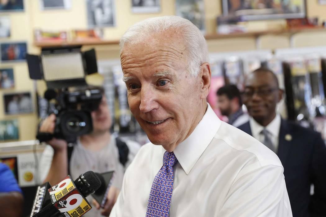 Former Vice President Joe Biden speaks to the media during a campaign stop with Democratic gubernatorial candidate Richard Cordray, Friday, June 29, 2018, in Cincinnati. (John Minchillo/AP)