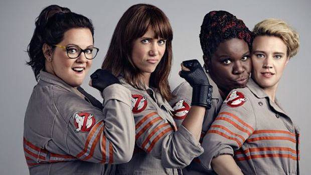 "Melissa McCarthy, left, Kristen Wiig, Leslie Jones and Kate McKinnon are the 2016 ""Ghostbusters."""