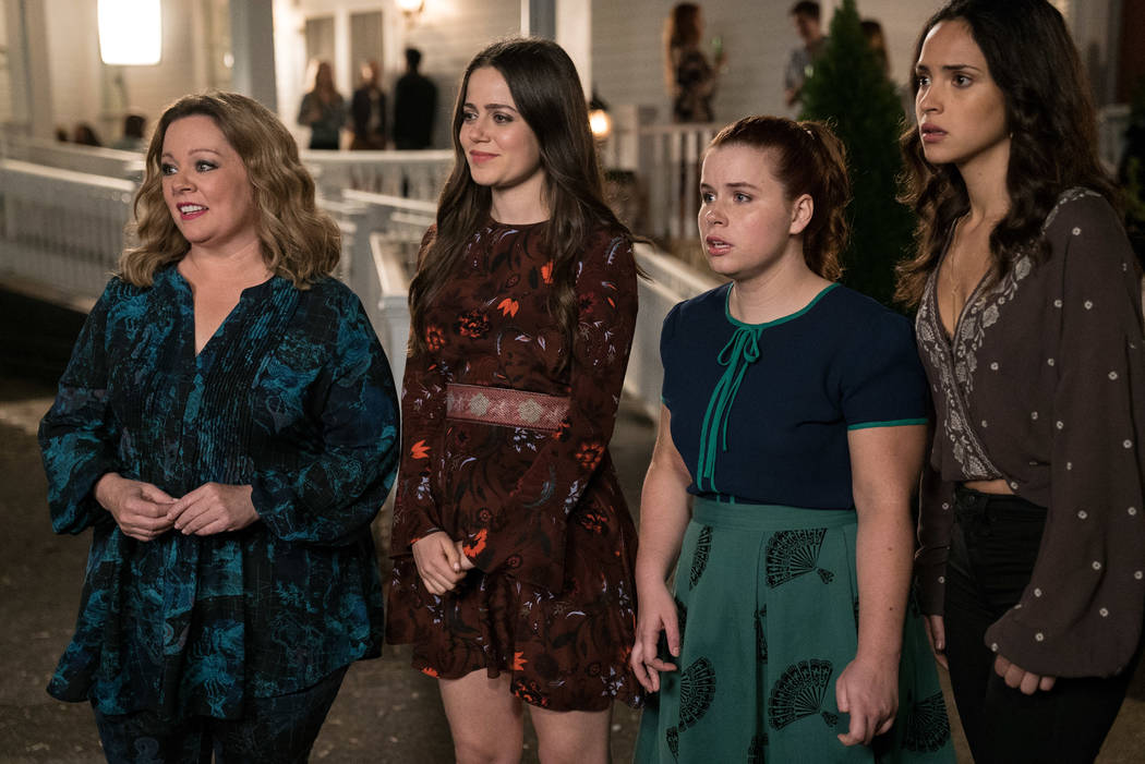 "MELISSA McCARTHY as Deanna, MOLLY GORDON as Maddie, JESSIE ENNIS as Debbie and ADRIA ARJONA as Amanda in the comedy ""LIFE OF THE PARTY,"" (Hopper Stone/Warner Bros.)"