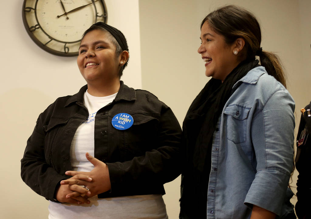 Delilah Juarez, 17, center, tells the room why her wish was important to her next to her mother Adelina Juarez, right, at Summerlin Hospital Medical Center in Las Vegas, Monday, Oct. 15, 2018. The ...