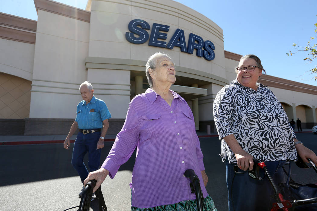 Shirley Reilly, 78, left, and Charlyn Medlin, 62, both of Henderson, outside the Sears department store at Marks Street and Warm Springs Road Monday, Oct. 15, 2018. The location is one of 142 iden ...