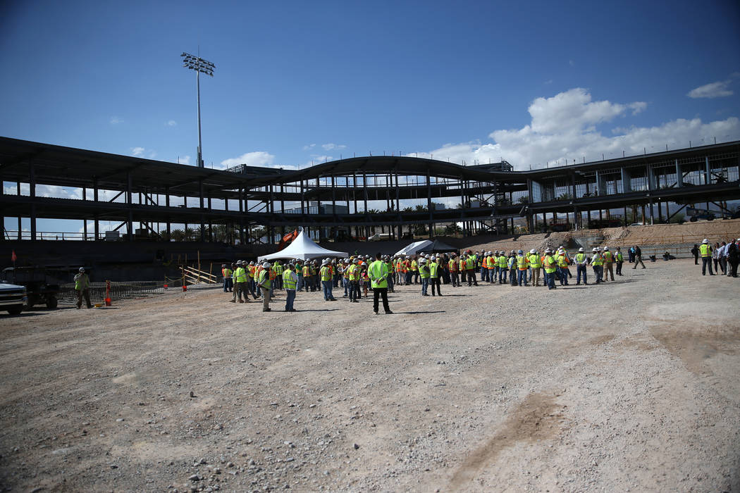 The Las Vegas Ballpark construction site during a topping off ceremony at the Las Vegas Ballpark construction site in Las Vegas, Thursday, Oct. 11, 2018. Erik Verduzco Las Vegas Review-Journal @Er ...