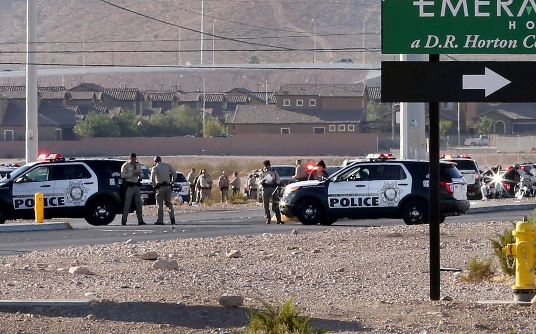 Las Vegas police are investigating an officer-involved shooting near South Rainbow Boulevard and Gary Avenue, near Blue Diamond Road on Wednesday, Oct. 10, 2018, in Las Vegas. Bizuayehu Tesfaye/La ...