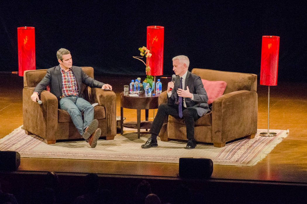 Andy Cohen, left, and Anderson Cooper on stage (Credit Glenn Kulbako)
