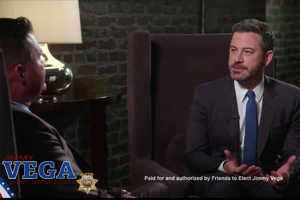 Late-night talk show host Jimmy Kimmel has endorsed childhood friend Jimmy Vega for North Las Vegas Constable. (Courtesy)