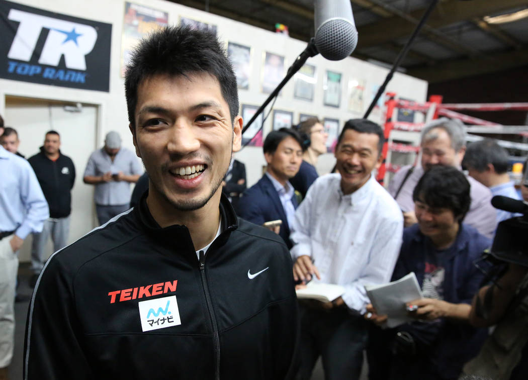 Ryota Murata, a middleweight boxer from Japan, smiles after addressing the media at Top Rank gym during media day on Wednesday, Oct. 17, 2018, in Las Vegas. WBA ÒworldÓ middleweight titl ...