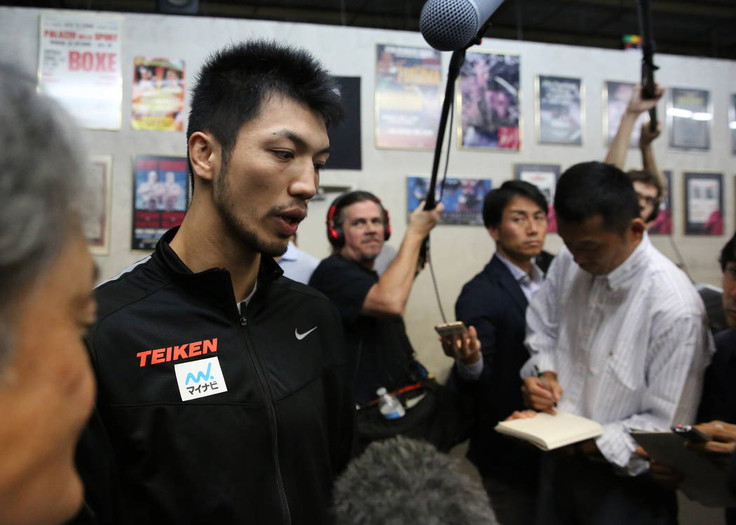 Ryota Murata, a middleweight boxer from Japan, addresses the media at Top Rank gym during media day on Wednesday, Oct. 17, 2018, in Las Vegas. WBA ÒworldÓ middleweight titleholder Murata ...