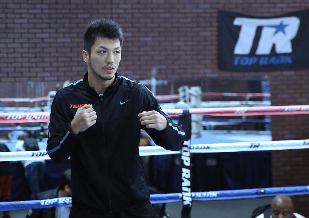 Ryota Murata, a middleweight boxer from Japan, shows off his move during media day at Top Rank gym on Wednesday, Oct. 17, 2018, in Las Vegas. WBA ÒworldÓ middleweight titleholder Murata ...