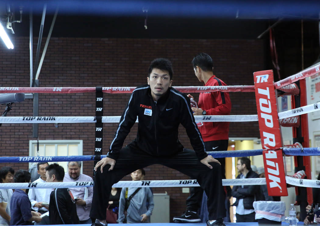 Ryota Murata, a middleweight boxer from Japan, stretches during media day at Top Rank gym on Wednesday, Oct. 17, 2018, in Las Vegas. WBA ÒworldÓ middleweight titleholder Murata will face ...