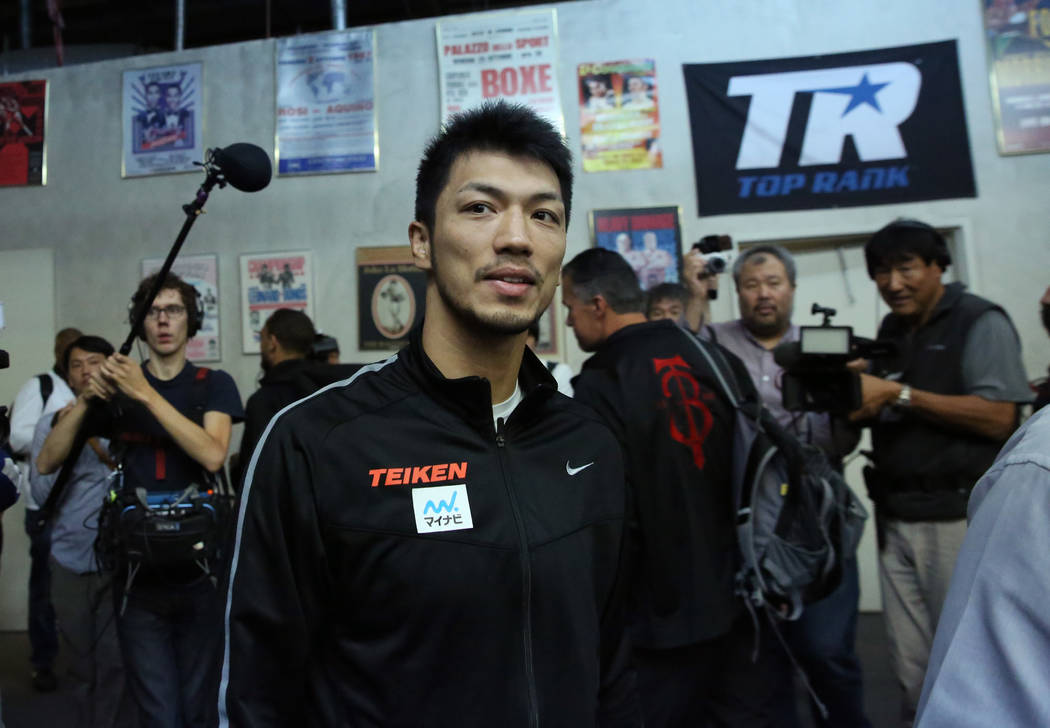 Ryota Murata, a middleweight boxer from Japan, arrives at Top Rank gym during media day on Wednesday, Oct. 17, 2018, in Las Vegas. WBA ÒworldÓ middleweight titleholder Murata will face m ...