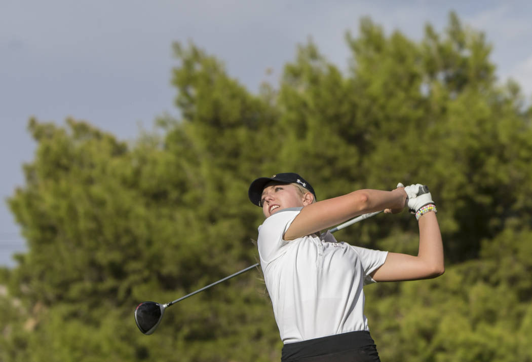 Faith Lutheran sophomore Gracie Olkowski drives the ball at Stallion Mountain Golf Club on Wednesday, Oct. 10, 2018, in Las Vegas. She shot 74 Monday and is in second place after the first round o ...