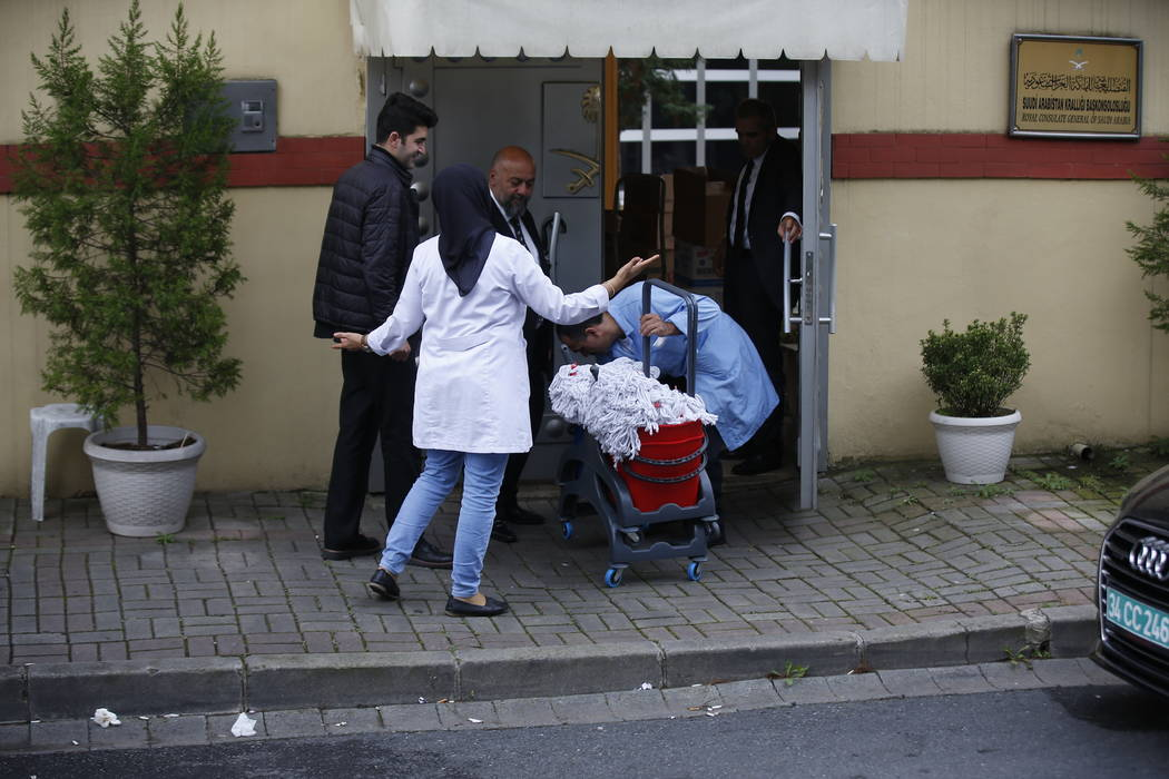 """Cleaning personnel enter Saudi Arabia's Consulate in Istanbul, Monday, Oct. 15, 2018. Turkey says an """"inspection"""" of the consulate is expected to take place later on Monday, nearly two w ..."""