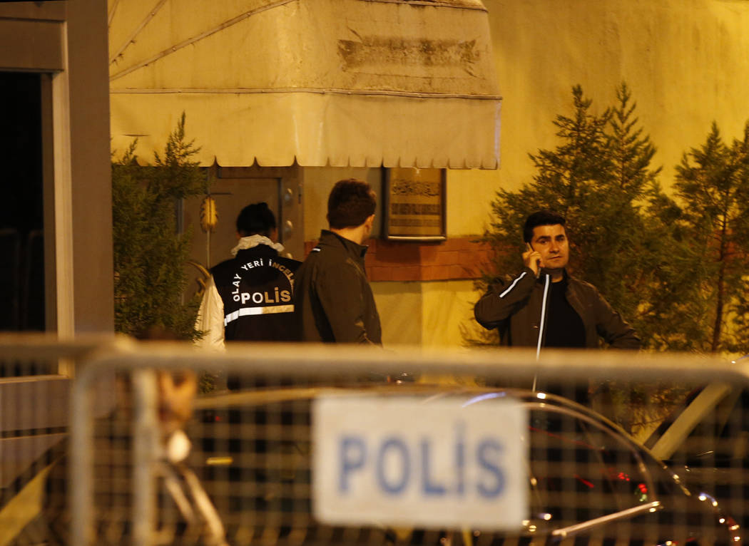 """Turkish police officers enter the Saudi Arabia's Consulate in Istanbul, Monday, Oct. 15, 2018. Turkey and Saudi Arabia are conducting a joint """"inspection"""" on Monday of the consulate, where Saudi j ..."""