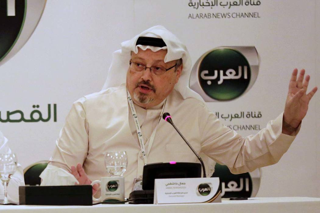 Jamal Khashoggi, then general manager of a new Arabic news channel, speaks during a press conference in Manama, Bahrain, on Dec. 15, 2014. (Hasan Jamali, AP file)