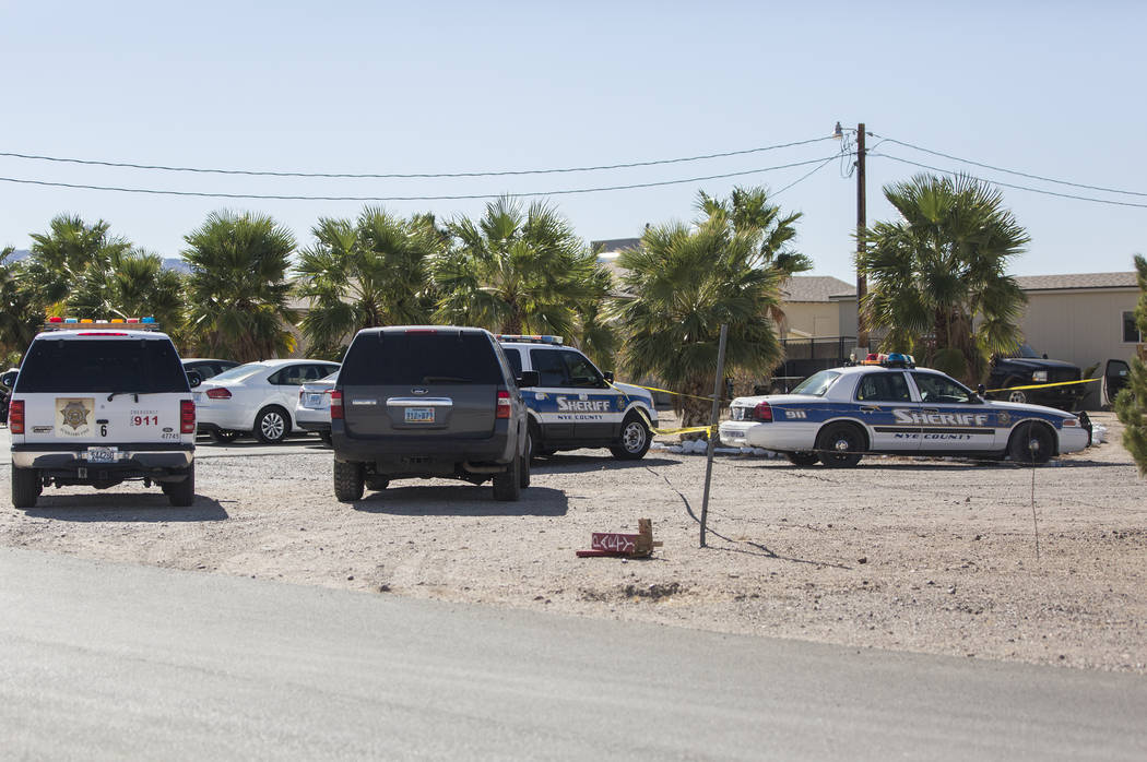 Nye County law enforcement surround Dennis Hof's Love Ranch after the prominent brothel owner was found dead this morning at Dennis Hof's Love Ranch on Tuesday, Oct. 16, 2018, in Pahrump, Nevada. ...