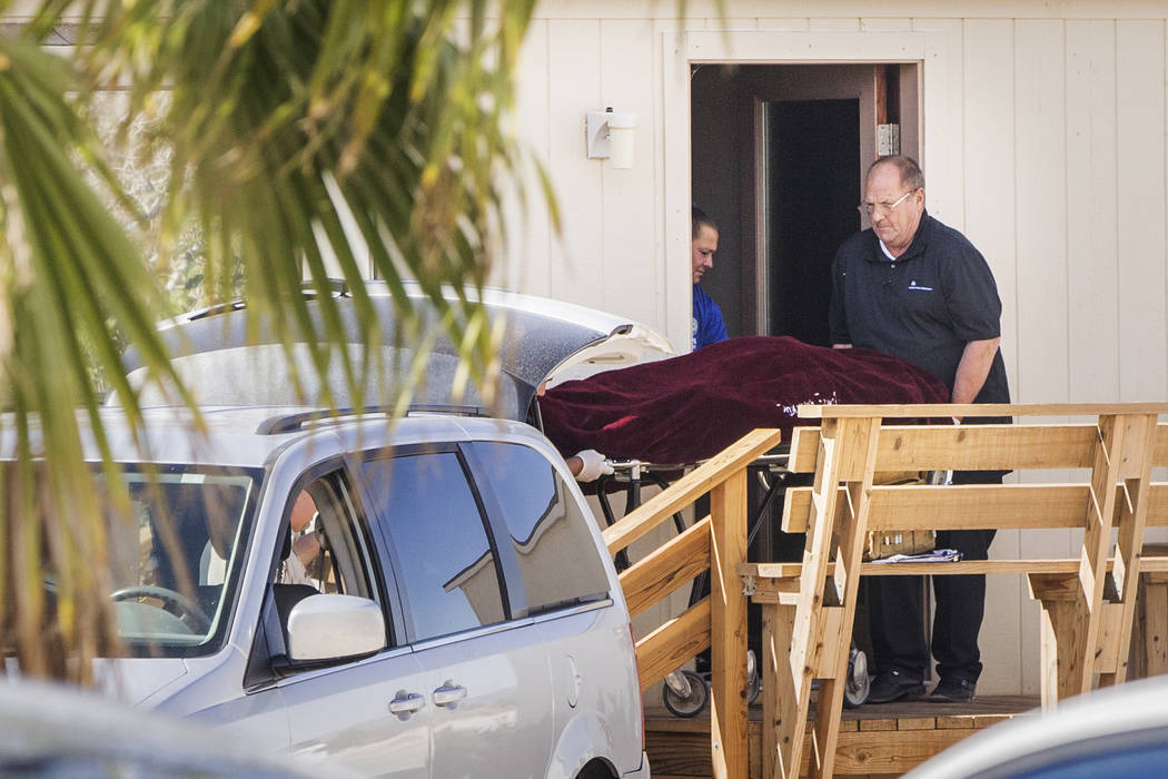 Dennis Hof, brothel owner and Republican candidate for state assembly, is taken from his room by Nye County law enforcement personnel after being found dead this morning at Dennis Hof's Love Ranch ...