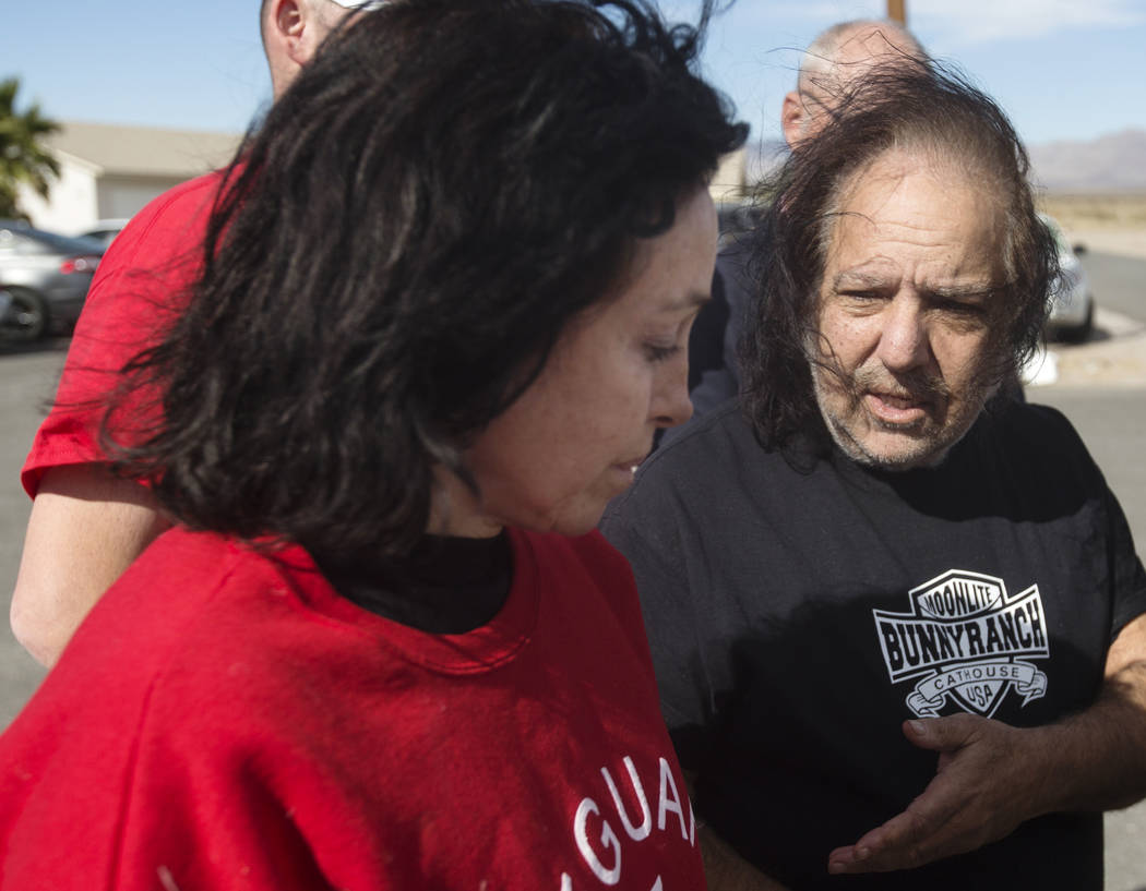 "Former ""Hollywood Madam"" Heidi Fleiss, left, and adult film star Ron Jeremy describe finding the body of friend Dennis Hof this morning at Dennis Hof's Love Ranch on Tuesday, Oct. 16, 20 ..."