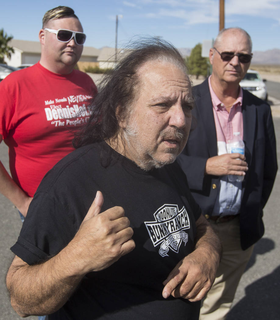 Adult film star Ron Jeremy describes finding the body of his friend Dennis Hof this morning at Dennis Hof's Love Ranch on Tuesday, Oct. 16, 2018, in Pahrump, Nevada. Benjamin Hager Las Vegas Revie ...