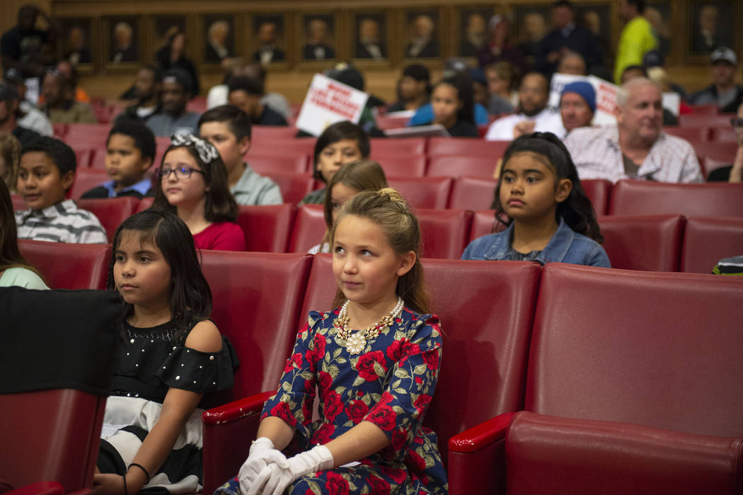 The Garehime Elementary School fifth grade class waits to give their presentation asking the Las Vegas City Council to name the black-tailed jackrabbit as the city's official animal at city hall i ...