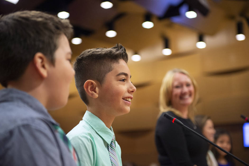 Vincent Llamas from the Garehime Elementary School fifth grade class speaks during the class' presentation asking the Las Vegas City Council to name the black-tailed jackrabbit as the city's offic ...