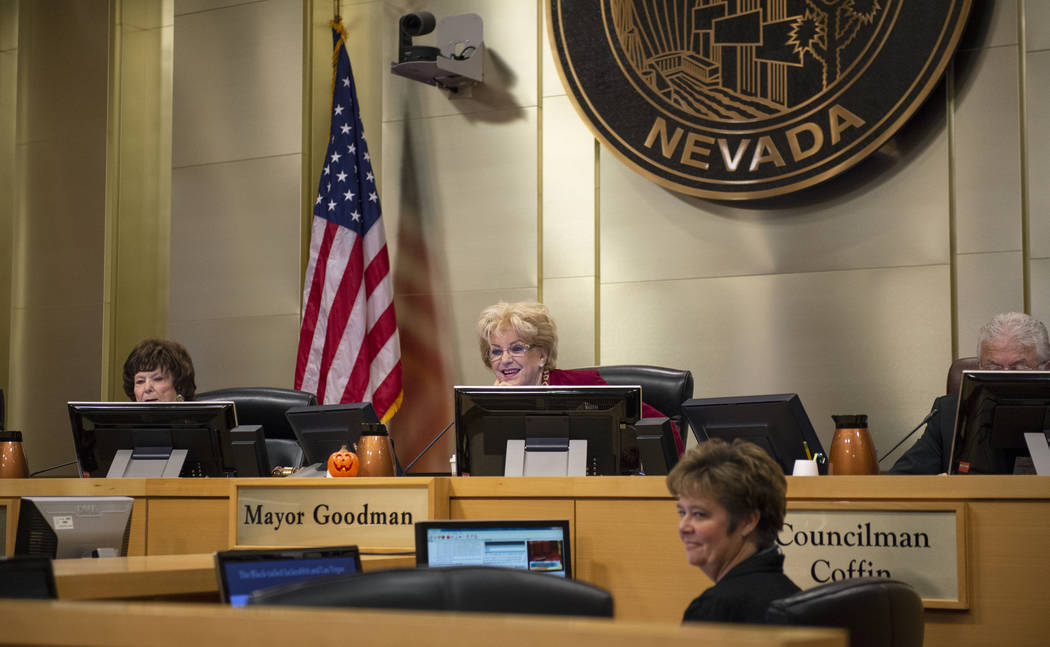 Members of the Las Vegas City Council listen to the Garehime Elementary School fifth grade class give a presentation asking them to name the black-tailed jackrabbit as the city's official animal a ...