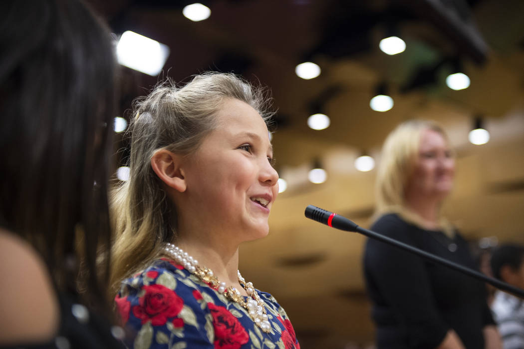 Taylor Webster from the Garehime Elementary School fifth grade class speaks during the class' presentation asking the Las Vegas City Council to name the black-tailed jackrabbit as the city's offic ...