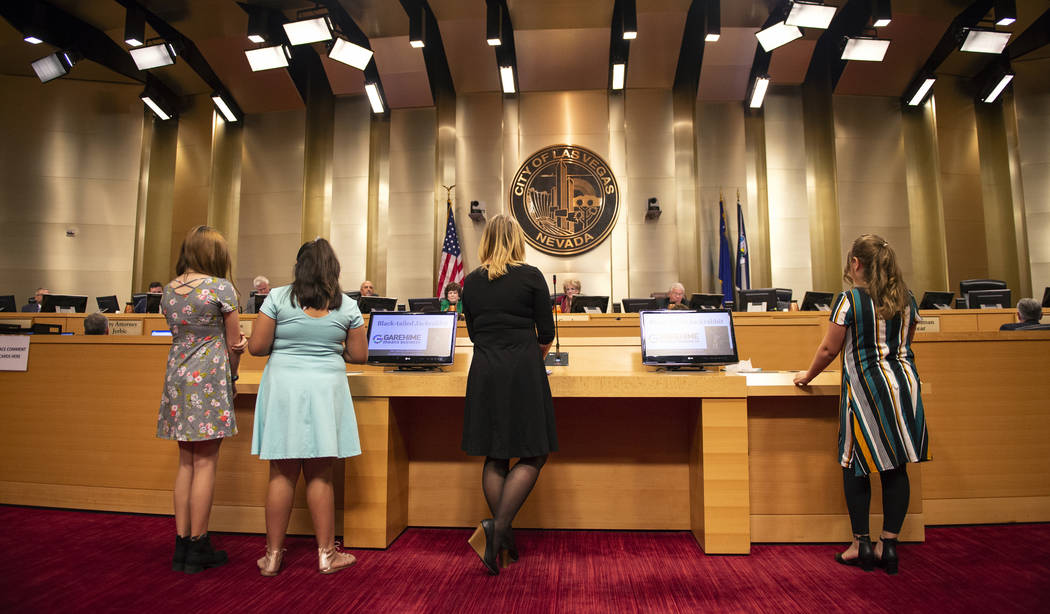 The Garehime Elementary School fifth grade class asks the Las Vegas City Council to name the black-tailed jackrabbit as the city's official animal at city hall in Las Vegas, Wednesday, Oct. 17, 20 ...