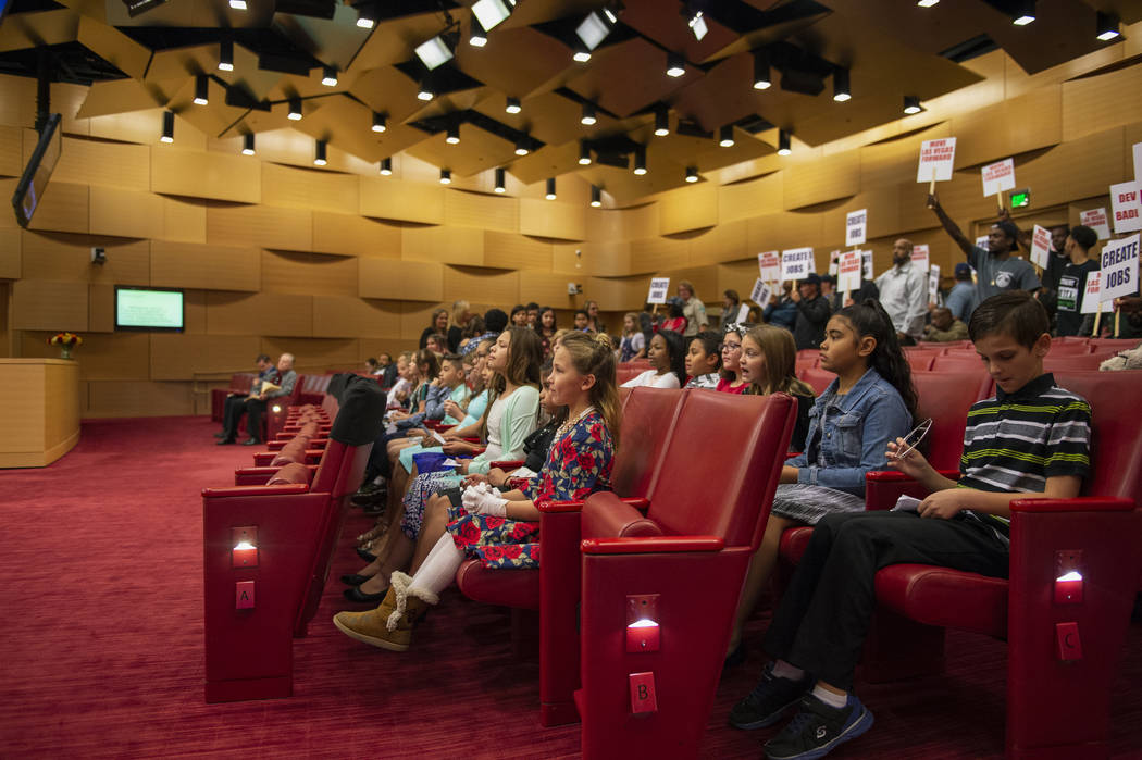 The Garehime Elementary School fifth grade class watches the Las Vegas City Council deliberate after giving a presentation asking the Council to name the black-tailed jackrabbit as the city's offi ...