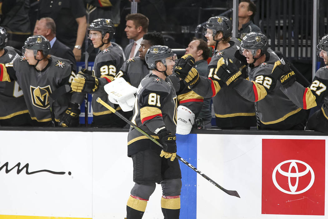 Vegas Golden Knights center Jonathan Marchessault (81) celebrates his first period goal against the Buffalo Sabres during an NHL hockey game at T-Mobile Arena in Las Vegas, Tuesday, Oct. 16, 2018. ...