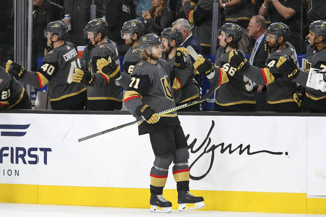 Vegas Golden Knights center William Karlsson (71) celebrate his third period goal against the Buffalo Sabres during an NHL hockey game at T-Mobile Arena in Las Vegas, Tuesday, Oct. 16, 2018. Richa ...