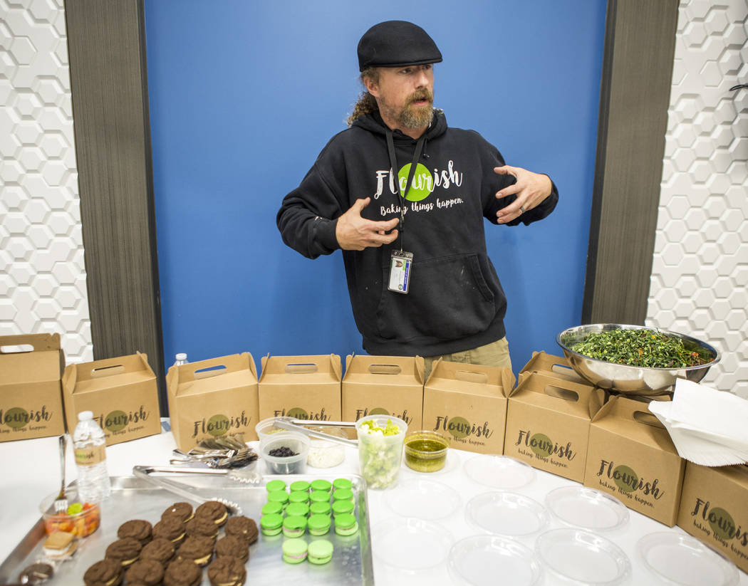 Cannabis chef Payton Curry, founder of Flourish Cannabis, talks with reporters about his food during a cannabis media tour at Exhale Nevada on Friday, April 23, 2018. (Patrick Connolly Las Vegas R ...