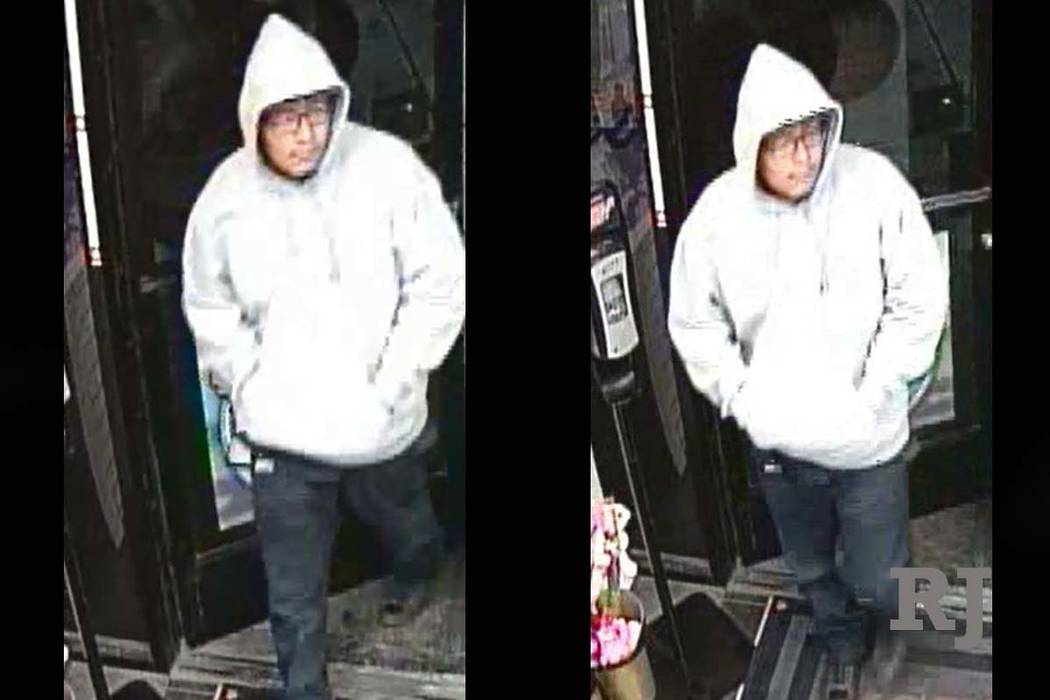 Las Vegas police are looking for this man who robbed a Chevron gas station at 5685 Mountain Vista St. on Monday morning, Oct. 15, 2018. (Las Vegas Metropolitan Police Department)